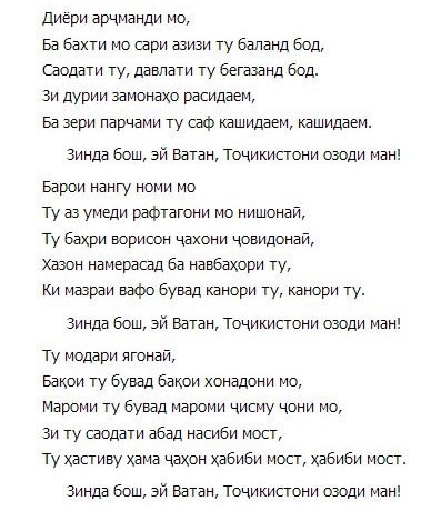 Суруди Миллии Ҷумҳурии Тоҷикистон
